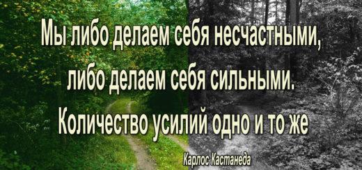 Мы либо делаем себя несчастными, либо делаем себя сильными. Количество усилий одно и то же